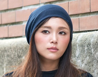 100% Organic Cotton Beanie Hat, Made in Japan, Reversible, Unisex Slouchy Beanie, Summer Winter All-Season Knit Beanie, Chemo Slouch Hat