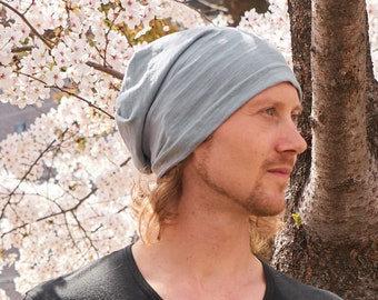 100% Cotton Summer Beanie - Light Weight - Thin Material - Slouchy Beanie -  Breathable - Baggy - Japanese Style - Made in Korea bw-sot ae9e9d24303