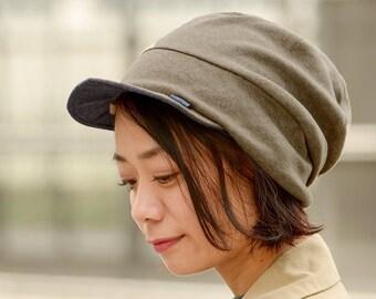 100% Organic Cotton Beanie Cap, Reversible Sun Hat, UV Block, Unisex Peaked Hat, Designed In JAPAN, Summer Chemo Hat, Summer, Mens & Womens