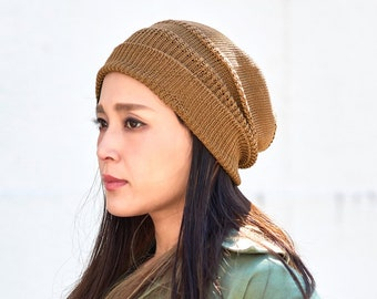 ef493113 100% Silk Knit Beanie, Slouchy Summer Beanie, Made in Japan, Chemo Hat,  Organic Clothing, Mens Slouchy Beanie, Womens Slouch Hat, Night Cap