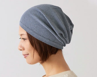 Organic Cotton Slouchy Beanie for Men Women, Made in Japan Hipster Beanie for Sensitive Skin, Sleep, Chemo Hat, Solid