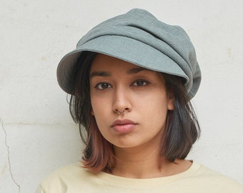 Organic Cotton Newsboy Flat Cap, Womens Summer Hat, Mens Slouch Hat Chemo Hat, Baker Boy, Cap Eco Fabric, Sun Hat with Adjustable Drawstring