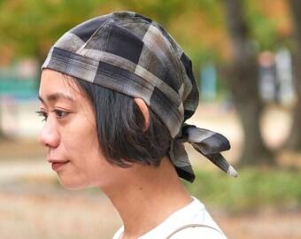 100% Linen Bandana Cap in Plaid Tartan Flannel