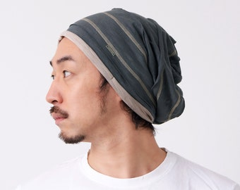 100% Cotton Slouchy Boho Beanie for Men, Japanese Style Made in Korea, Chemo Head Cover, Fashion Slouch for Women, Cooling Unisex Summer Cap
