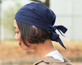 100% Linen Bandana Cap, Barista Hair Wrap, Summer Head Cooling Scarf, Cute Chemo Head Cover