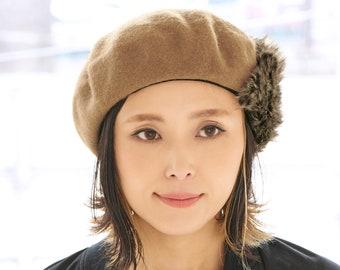 Cruelty Free Wool Beret Beanie for Women Fur Beret Hat, Warm Winter Cap, Accessory for Fall, Artist Beanie Cap, Faux-Fur Ethical Casquette