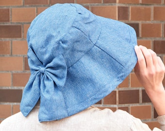 Womans Summer Sun Hat with Bow Ribbon Accent, Indigo Denim Sun Shade Beach Hat, Floppy UV Visor Cap for Her, Skin Care Accessory for Face