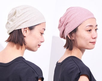 Reversible Organic Cotton Beanie, Slouchy Summer Knit, Womens Slouch Hat, Mens Chemo Cap, Made in South Korea, Lightweight Baggy Hat