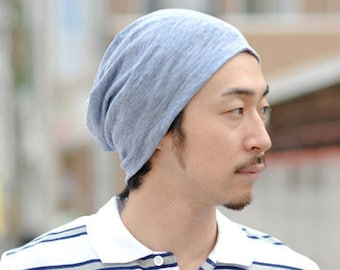 100% LINEN Beanie Made in JAPAN - Hat Summer Designer Men Women Ventilating - Natural Fabric - Lightweight breathable All-Season Baggy