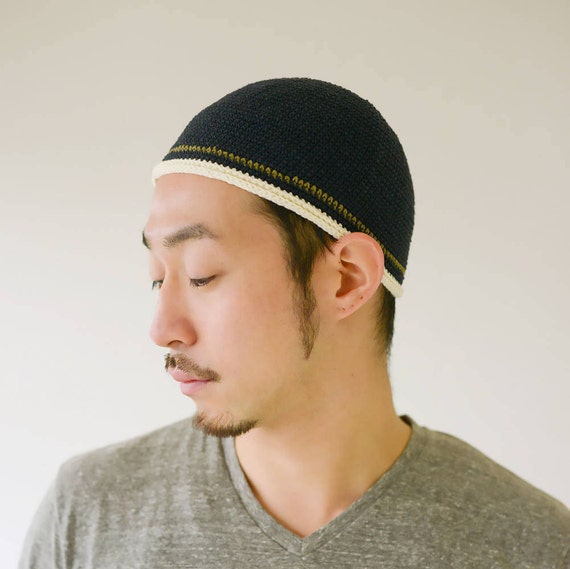 100% Cotton Mens Beanie Kufi Hat for Men Hand Made Kufi  ce21bfa09d6