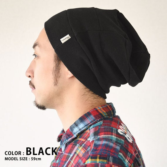 15199aa7754 Cotton Baggy Ribbed Beanie Slouch Fits Adult Men and Women