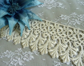 66db10dcec Ivory Lace Trim Venise Leaves Wide Size for Costumes