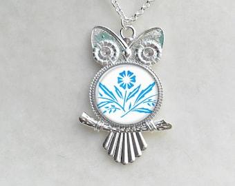 Fireking Tulips Owl Layering Necklace Birthday Gift Tulips Necklace Silver Owl Necklace