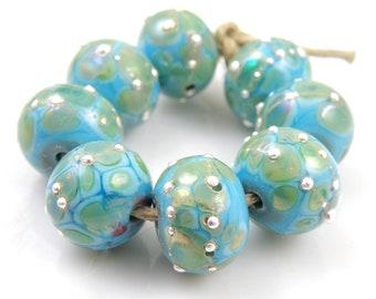 River Dance on Green SRA Lampwork Handmade Artisan Glass DonutRound Beads Made to Order Set of 8 8x12mm
