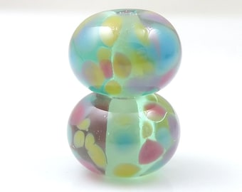 Fairy Floss Earring Pair SRA Lampwork Handmade Artisan Glass Donut/Round Beads Made to Order Pair of 2 8x12mm