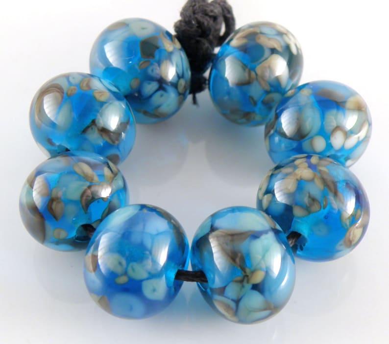 Copper Moon SRA Lampwork Handmade Artisan Glass DonutRound Beads Made to Order Set of 8 8x12mm