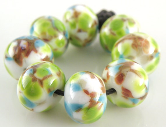 Tropical Dreams SRA Lampwork Handmade Artisan Glass DonutRound Beads Made to Order Set of 8 8x12mm