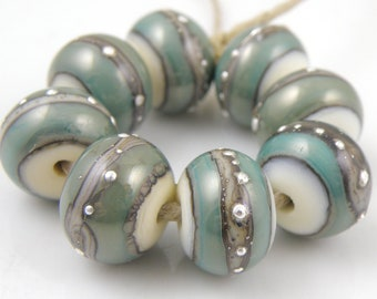 Copper Moon SRA Lampwork Handmade Artisan Glass Donut/Round Beads Made to Order Set of 8 8x12mm