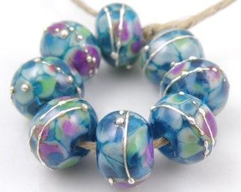 Twilight Dancer SRA Lampwork Handmade Artisan Glass Donut/Round Beads Made to Order Set of 8 8x12mm