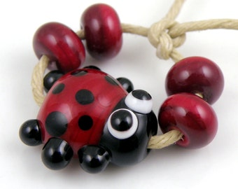 Red and Black Ladybug Mini Focal with Spacers Made to Order SRA Lampwork Handmade Artisan Glass Beads Set of 5