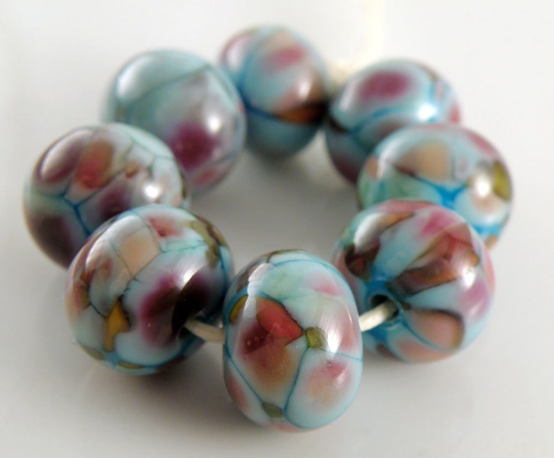 Teenage Dream SRA Lampwork Handmade Artisan Glass DonutRound Beads Made to Order Set of 8 8x12mm