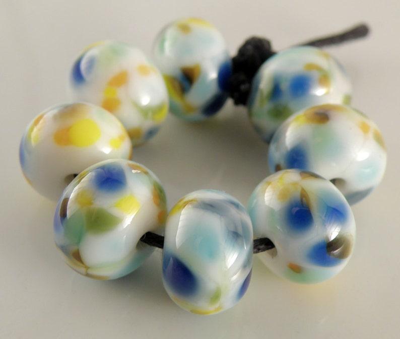 Summer Day SRA Lampwork Handmade Artisan Glass DonutRound Beads Made to Order Set of 8 8x12mm