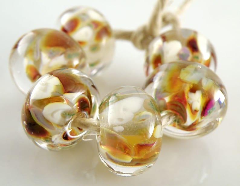 Champagne Rain Encased SRA Lampwork Handmade Artisan Glass DonutRound Beads Made to Order Set of 6 10x15mm