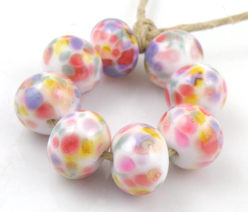 Artemis SRA Lampwork Handmade Artisan Glass DonutRound Beads READY to SHIP Set of 8 8x12mm