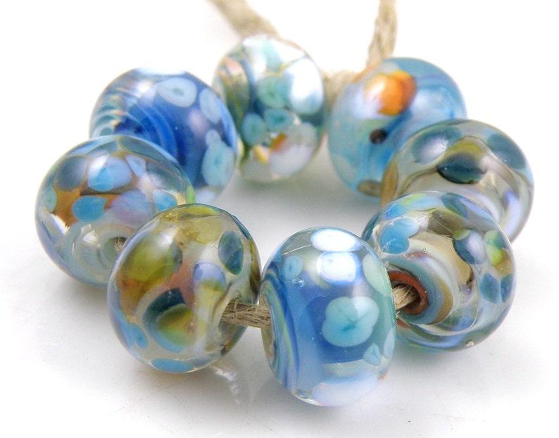 Fiesta SRA Lampwork Handmade Artisan Glass DonutRound Beads Made to Order Set of 8 8x12mm
