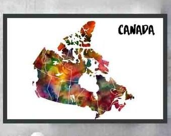 Canada Map Canada Poster Canada Art  Canada Wall Art