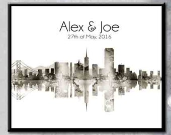 San Fransisco Skyline Personalized Gift Skyline couple Gift Skyline for a Couple Present