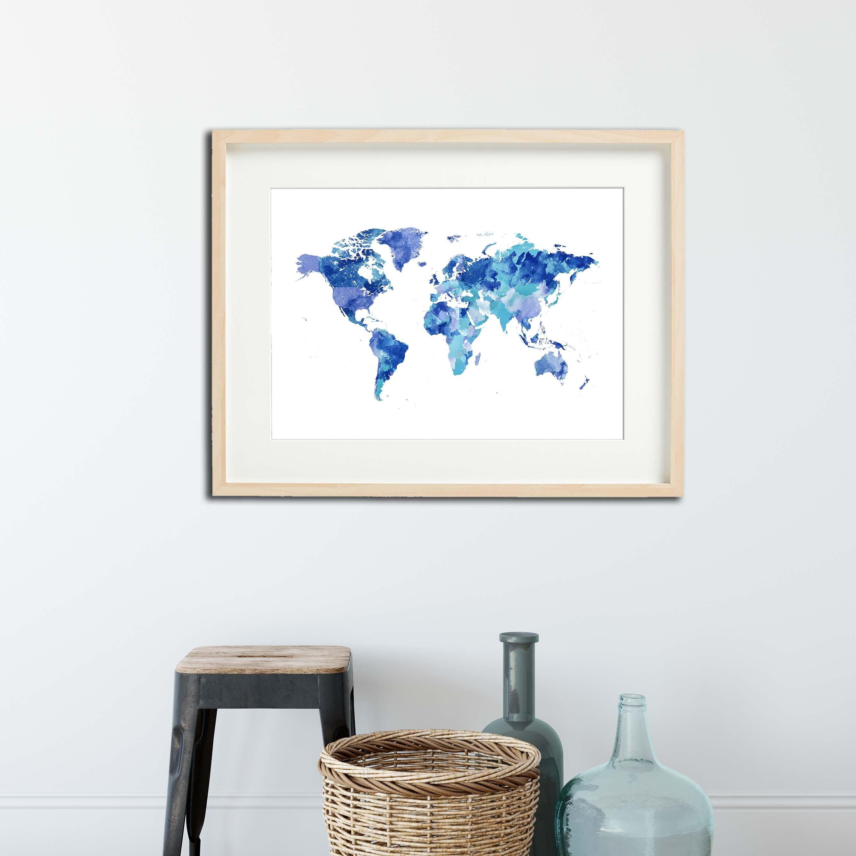 Printable World map wall art, Blue World map poster printable