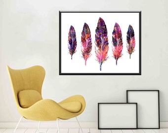 Feather wall art Feather Watercolor Feather prints Watercolur Feather Art Feather Poster Large Feather Printable