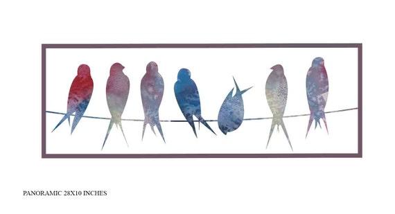 Vögel auf Draht Kunstdruck Vögel Wand Kunst moderne Wand Kunst | Etsy