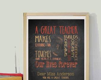 Teacher Gifts Teacher Appreciation Gift Personalized Teacher Gifts Customized Teacher Gift for Teacher Printable