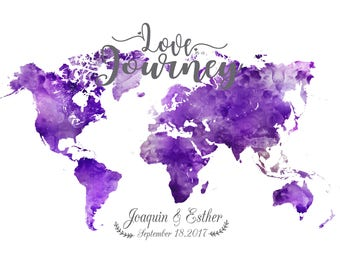 Purple Wedding Guest book Print Purple and Lavender World Map Lavender wedding guest book