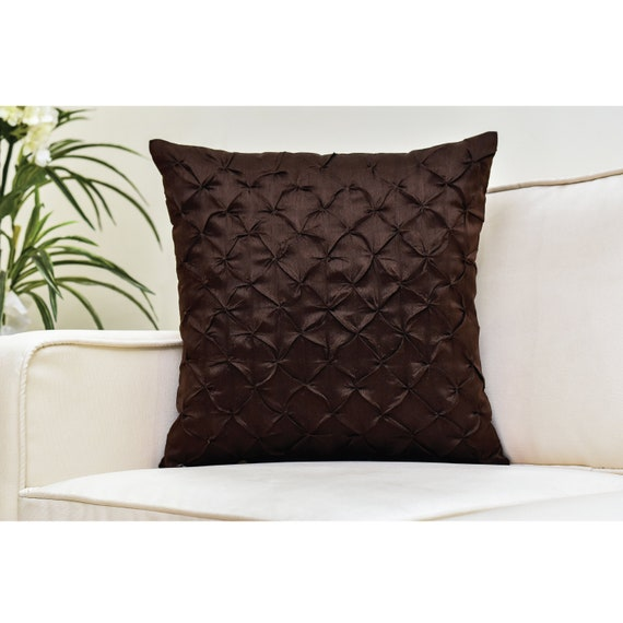 Dark Brown Throw Pillows.Dark Brown Throw Pillow Cover Pinch Pleat Textured Pillow
