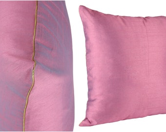 Set of 2 Solid Violet Pillow Cover With Silver/Gold Piping Violet Sham Cover 14x14 16x16 18x18 20x20 22x22 24x24 26x26