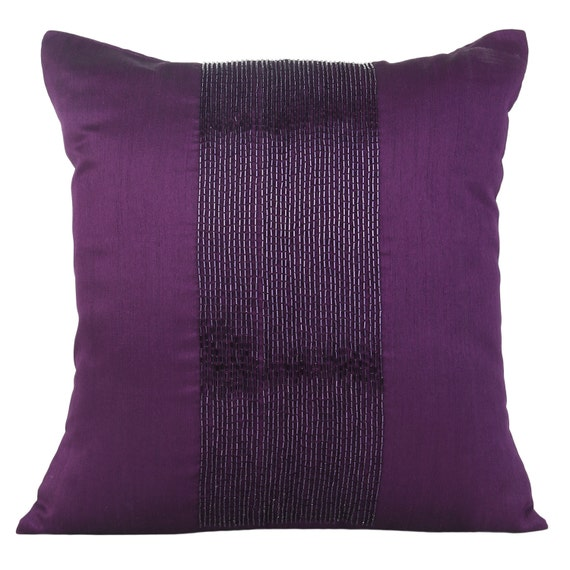 Aubergine Decorative Pillow Cover With Beading Etsy Interesting Aubergine Decorative Pillows