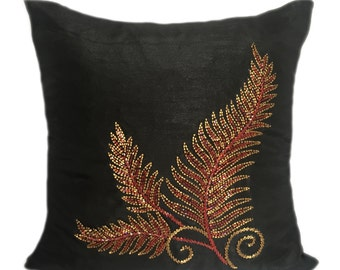 Black Red Fern Pillow Cover Fall Decor Pillow Fern Cushion Cover Fern Decorative Pillow Sizes 14x14 16x16 18x18 20x20 22x22