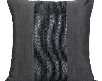 Charcoal Grey Pillow Cover Decorative Pillows Beaded Pillow Grey Cushion Cover Elegant Pillow Charcoal Accent Pillow Grey on Grey Pillow
