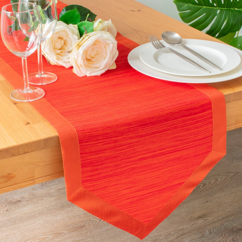 Bright Orange Side Table Runners 36 Inch Long V Ends For Thanksgiving Christmas Dinner Parties