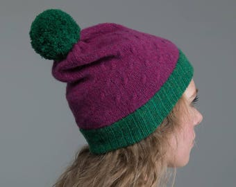 Knitted purple, green 100% Lambswool Beanie Hat
