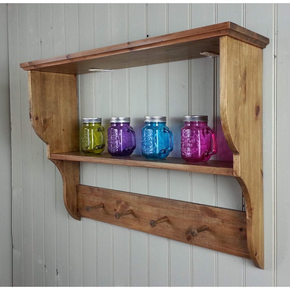 Shelves For Kitchen Wall: Coat Rack Shelf Wall Mounted Wooden Hall Kitchen Or