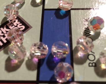 Vintage 8mm Austrian Crystal Beads - AB Crystal Rounds - 20 Beads