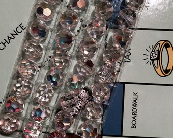 Vintage 14mm Austrian Crystal Beads - AB Crystal Rounds - 36 Beads