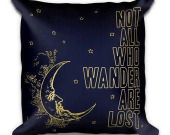 Not All Who Wander Compass Decorative Moon Art Print on Boho Pillow