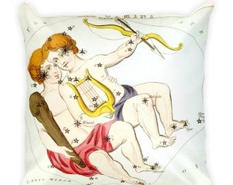 Decorative Throw Pillow - Gemini Sign - Home Decor Accent Pillows - Vintage Zodiac Art - Celestial Decor - Antique Constellation Print