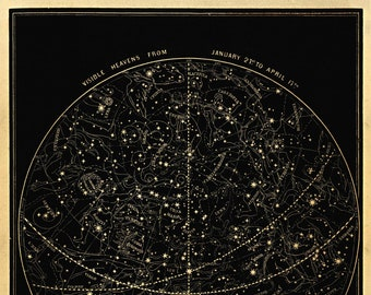 Visible Heavens 01 Constellation Celestial Chart - Astronomy Gift - Astrology Art - Zodiac Sign - Night Stars - Sky Map - January to April