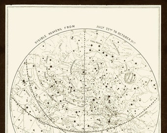 Visible Heavens 03 Constellation Celestial Chart - Astronomy Gift - Astrology Art - Zodiac Sign Star chart - Night Sky Map - July to October